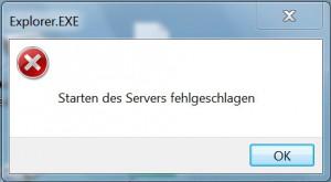Fehlermeldung: Starten des Servers fehlgeschlagen