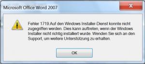 Fehler 1719. Auf den Windows Installer-Dienst konnte nicht zugegriffen werden