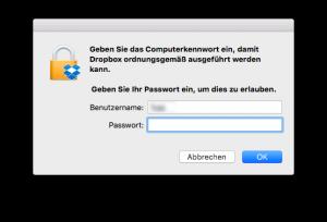 Dropbox Passwort-Abfrage